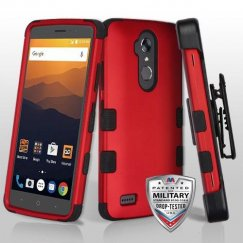 ZTE Blade Max 3 / Max XL Titanium Red/Black Hybrid Case Military Grade with Black Horizontal Holster