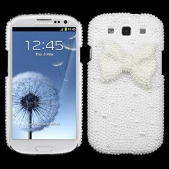 Samsung Galaxy S3 White Bow Pearl 3D Diamante Back Case