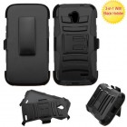 ZTE Allstar Black/Black Advanced Armor Stand Case with Black Holster
