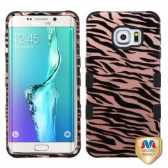 Samsung Galaxy S6 Edge Plus Zebra Skin/Black 2D Rose Gold/Black Hybrid Case