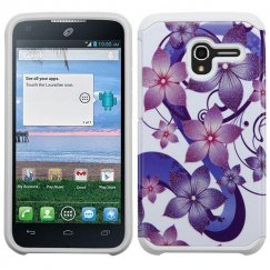 Alcatel Stellar / Tru 5065 Purple Hibiscus Flower Romance /White Advanced Armor Case