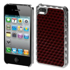 Apple iPhone 4/4s Red Silver Plating Diamond Texture Alloy Executive Back Case with White Hybrid Holster