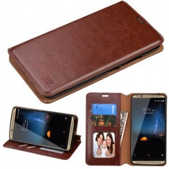 ZTE Axon 7 Brown Wallet with Tray