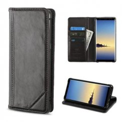 Samsung Galaxy Note 8 Black Genuine Leather Wallet