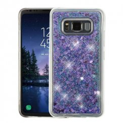 Samsung Galaxy S8 Active Hearts & Purple Quicksand Glitter Hybrid Case