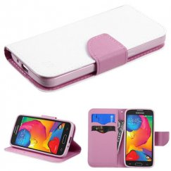 Samsung Galaxy Avant White Pattern/Pink Liner wallet with Card Slot