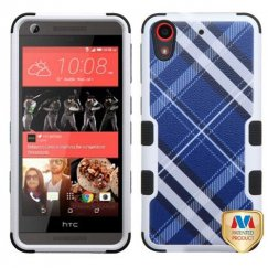 HTC Desire 626 Blue Diagonal Plaid/Black Hybrid Case