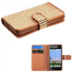 Huawei Valiant / Ascend Plus Gold Diamonds Book-Style Wallet with Card Slot