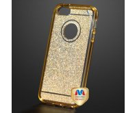 Apple iPhone 5/5s Transparent Gold Sheer Glitter Premium Candy Skin Cover