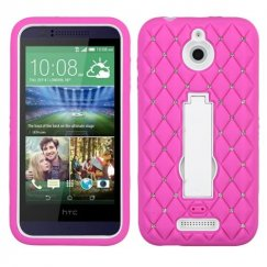 HTC Desire 510 White/Hot Pink Symbiosis Stand Case with Diamonds
