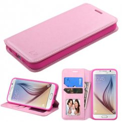 Samsung Galaxy S6 Pink Wallet with Tray