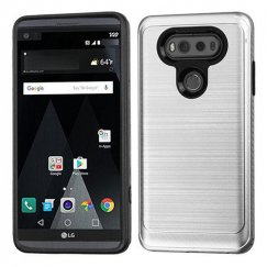 LG V20 Silver/Black Brushed Hybrid Case with Carbon Fiber Accent