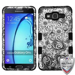 Samsung Galaxy On5 Black Four-Leaf Clover 2D Silver/Black Hybrid Case