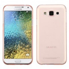 Samsung Galaxy E5 Glossy Transparent Rose Gold Candy Skin Cover