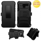 Alcatel Stellar / Tru 5065 Black/Black Advanced Armor Stand Protector Cover (With Black Holster)