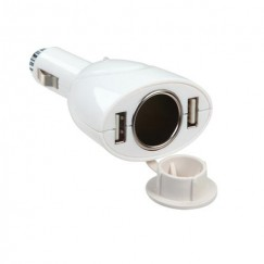 White Dual USB Cigarette Lighter
