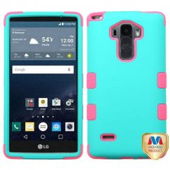 LG G Stylo Rubberized Teal Green/Electric Pink Hybrid Case