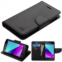 Samsung Galaxy J1 Black Pattern/Black Liner wallet (with card slot)(84A) -WP