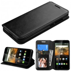 Alcatel One Touch Conquest Black Wallet with Tray