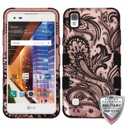 LG X Style / Tribute HD Phoenix Flower 2D Rose Gold/Black Hybrid Case - Military-Grade Certified