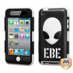 Apple iPod Touch (4th Generation) Natural Black/White AlienHead Hybrid Case