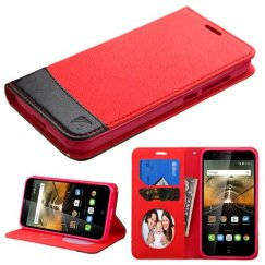Alcatel One Touch Conquest Red/Black wallet with Card Slot