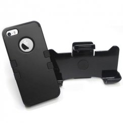 Apple iPhone 5/5s Rubberized Black/Black Hybrid Case with Black Holster