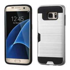 Samsung Galaxy S7 Edge Silver/Black Brushed Hybrid Case with Card Wallet