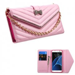 Samsung Galaxy S7 Edge Pink Premium Quilted Wallet with Bracelet