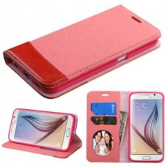 Samsung Galaxy S6 Pink/Red wallet with Card Slot
