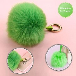 Cellphone Charm-Light Green Fox Fur Pom-Pom (Large) - WP