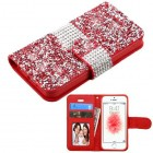 Apple iPhone SE Red Mini Crystals with Silver Belt Wallet