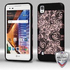 LG X Style / Tribute HD Black Four-Leaf Clover (2D Rose Gold)/Black Hybrid Case Military Grade