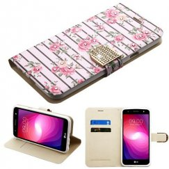 LG X Power 2 Pink Fresh Roses Diamante Wallet with Diamante Belt