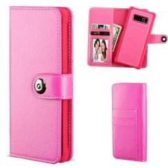 Samsung Galaxy Note 8 Hot Pink Detachable Magnetic 2-in-1 Wallet (TPU Case Leather Folio)