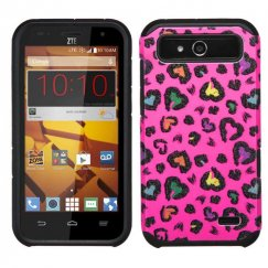 ZTE Speed Colorful Glittering Leopard Skin Hot Pink/Black Advanced Armor Case
