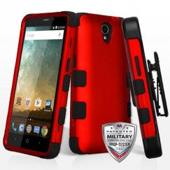 ZTE Prestige 2 Titanium Red/Black Hybrid Case Military Grade with Black Horizontal Holster