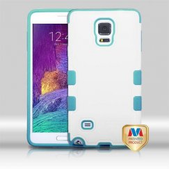 Samsung Galaxy Note 4 Natural Cream White/Tropical Teal Hybrid Case