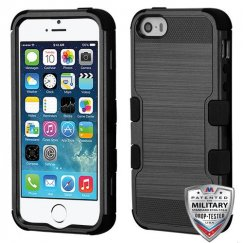 Apple iPhone SE Black Brushed/Black Hybrid Case Military Grade