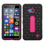 Nokia Lumia 640 Hot Pink/Black Symbiosis Stand Case with Diamonds