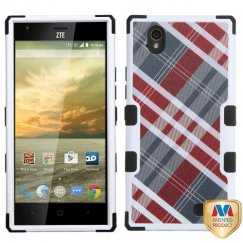 ZTE Warp Elite Maroon/Gray Diagonal Plaid/Black Hybrid Case