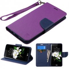 LG K7 Purple Pattern/Dark Blue Liner wallet with Lanyard