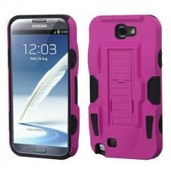 Samsung Galaxy Note 2 Hot Pink/Black Advanced Armor Stand Case - Rubberized