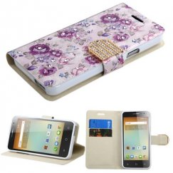 Alcatel One Touch Elevate Fresh Purple Flowers Diamante Wallet with Diamante Belt