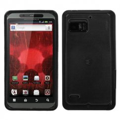 Motorola Droid Bionic Transparent Smoke/Solid Black Gummy Cover