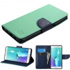 Samsung Galaxy S6 Edge Plus Teal Green Pattern/Dark Blue Liner wallet with Card Slot