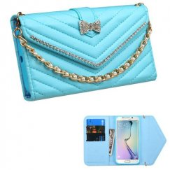 Samsung Galaxy S6 Edge Baby Blue Premium Quilted Wallet with Bracelet