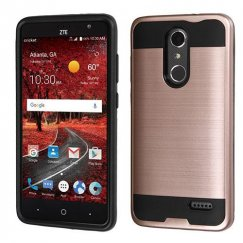 ZTE Grand X 4 Rose Gold/Black Brushed Hybrid Protector Cover