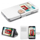 LG Optimus L70 White Embossed Book-Style Wallet(with window)
