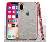 Apple iPhone X Silver Full Glitter Hybrid Protector Cover (with Electroplating Rose Gold & Diamonds Frame)